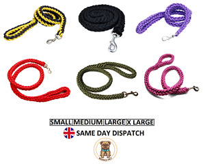 Nylon Dog Leads Braided Traction Rope Lead Strong Handmade Strands Leash S to XL