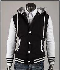 Unisex Hooded baseball college varsity black white Jacket size S - M