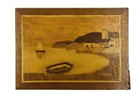 Vtg Seaside veneer picture wood inlay marquetry  interior wall decor wall art