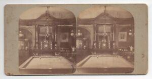 1880s Stereoview of Beach's Bar Interior w Billiard Table Newport Rhode Island