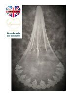 Bridal Veil *Cathedral Length*1 Tier*Off white/ Ivory*Wide Corded Lace *