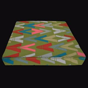 LL401t Lt. Olive Pink Red Triangle Cotton 3D Box Seat Cushion Cover Custom Size
