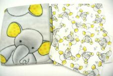 Baby Blanket Burp Cloth Gift Set Elephants Hearts Can Be Personalized Yellow