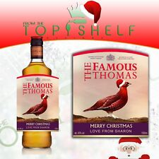 Personalised Christmas Xmas Famous Grouse Whisky / Whiskey replica bottle label