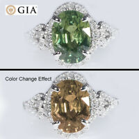 GIA CERTIFIED NATURAL 2.49CT NO HEAT COLOR CHANGE SAPPHIRE DIAMOND 18K RING