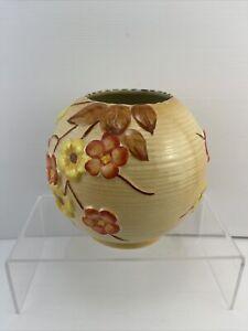 Vintage 1930'S MALING AUTUMN CHERRY BLOSSOM Round Ribbed Vase.