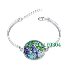 Tiffany Stained glass cabochon Tibet silver bangle bracelets wholesale