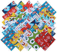 "Robert Kaufman Dr. Seuss Precut 6.5"" Fabric Cotton Quilt Squares Dr Seuss SQ16"