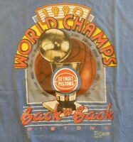 Vtg Detroit Pistons NBA World Champs Back to T-shirt 1990 Salem T-Shirt XL Blue