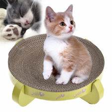 Round Cat Scratcher Bed Cardboard Kitty Scratching Pet Toy Furniture + Cat mint