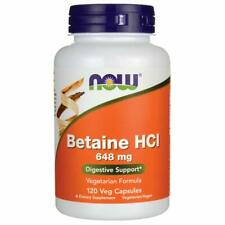 Now Foods, Betaine HCl 648 mg 120 Veggie Capsules Free Shipping
