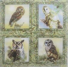 "Giordano Owl Fabric Panel with 4 quilt blocks 5"" square cotton quilting"