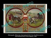 OLD LARGE PHOTO OF MINNEAPOLIS FOOD Co POSTER, HORSE MEDICINE, COLIC CURE 1900 2