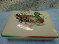 "Fitz & Floyd Mcmlxxx Porcelain ""Canard Sauvage"" Playing Card Box w/2 Card Sets"