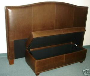 King Size Genuine Leather Headboard & Storage Bench - Bed set