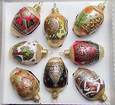 8 Ukrainian Glass Christmas Ornaments, Golden Desigh, Pysanka, Xmas Egg #8-5
