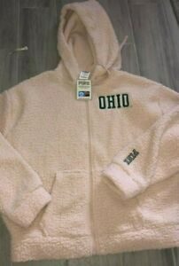 VICTORIA'S SECRET PINK SHERPA HOODIE COLLEGIATE COLLECTION OHIO Size M NWT