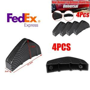 4X Car Rear Bumper Decor Diffuser Anti-scratch Shark Fin Spoiler Carbon Fiber
