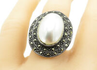 925 Sterling Silver - Vintage Pearl & Marcasite Cocktail Ring Sz 8 - R11315