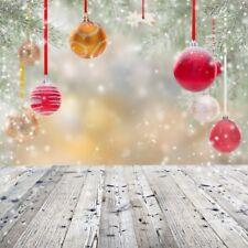Vinyl Christmas Photography Background Christmas Tree Snow Wooden Floor Backdrop