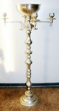 "Vtg Art Deco Hand Holding Torch Silver Plate Standing Candelabra Flower Bowl 40"""