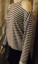 NWT BCBG MAXAZRIA Black White Stripe Open Shoulder Crew Neck Sweater - XS