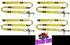 4 RTJ Cluster Hook Straps 8' Rollback Wrecker Car Hauler Trailer Tie Down Strap