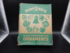 Shiny Brite Vintage Ornaments Gold Set of 12 with WWII Era Box Mercury
