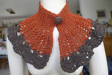 COLLAR SCARF CAPELET NECK WARMER BROWNS WOOL HOLIDAYS CROCHET SPECIAL GIFT