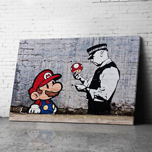 Mario Red  Banksy Canvas Wall Art Prints Framed Large Graffiti Pictures