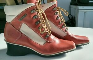 Timberland caramel leather wedge heel square toe lace up ankle boots UK 6M