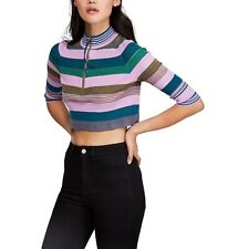 NEW Free People Riptide Crop Top Striped Shirt Teal Combo Womens Small