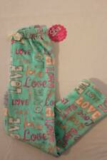 NEW Girls Pajamas PJ Pants Medium 7 - 8 Lounge Wear Green Love Soft Bottoms