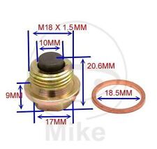 Magnetic Sump Plug, Oil Drain Plug M18  x 1.50- fits many BMW bikes, F/ K/ R