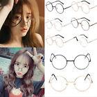 Retro Unisex Metal Frame Clear Big Round Lens Glasses Nerd Spectacles Eyeglass