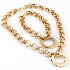 Yelow Gold Women's Choker Chain Necklace&Bracelet Stainless Steel Jewelry Set