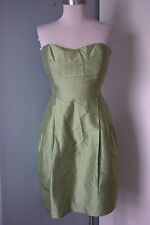 Simple Silhouettes New York Green Silk Tafetta Strapless cocktail dress 6 8 EUC