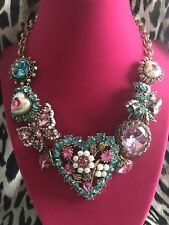 Betsey Johnson Hanging Hearts Boost Pearl Heart Blue Pink Butterfly Bow Necklace