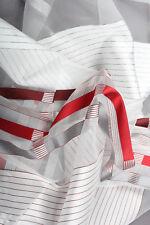 Meterware halbtransparent Vorhangstoff Dekostoff Streifen rot