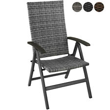 Chaise de jardin fauteuil mobilier extérieur en résine tressée et aluminium