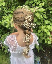 Real Dried Gypsophila Flower Spray Babys Breath Hair Pin Slide Bridal Bride