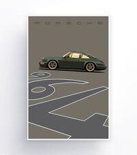 "Olive Green Porsche 964 Outlaw. Art Paper Poster 24"" x 36"""