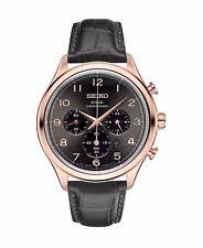 Seiko SSC566 Solar Chronograph Men's Watch Rose Gold Black Leather Strap