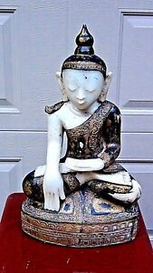 EXQUISITE 18c BURMESE RELIEF ALEBASTER CARVED GILT STONE BUDDHA SEATED ON THRONE