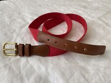 NWOT Men's COACH Natural Linen Belt in Red W/ Leather Ends in British Tan Size38