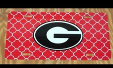 Georgia Bulldogs License Plate Metal Red Quatrefoil Tag UGA