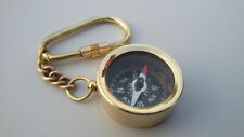 solid Brass Pocket Compass Key Chain Antique Handmade Key Ring Nautical