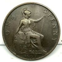 1897 GREAT BRITAIN- VICTORIA - ONE PENNY BRONZE COIN- KM# 790