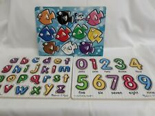 Melissa & Doug Wooden Peg Puzzles Letters A- Z,   Fish Colours,  & Numbers O-9