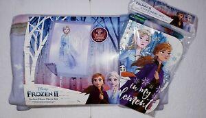 NEW Disney Frozen 2 Girl Gift Set No Sew Fleece Throw Kit Stationary Set Elsa